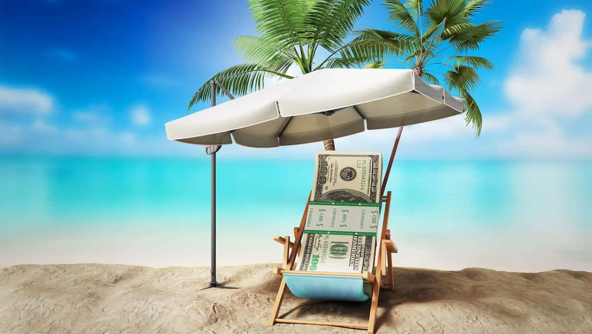 Money on beach after inheritance