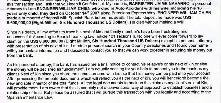 Inheritance Scam Letter